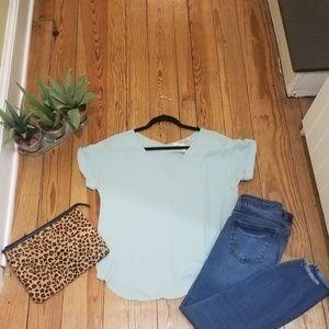 Mint green short sleeve blouse